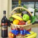Traditional Holiday Fruit & Wine Basket