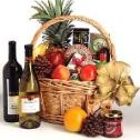 Choose either Chardonnay or Merlot to accompany the fine fruits and gourmet.