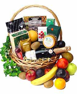 Fruit Basket With Wine Champagne
