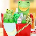 Frog themed baby gift baskets