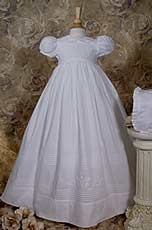 Cotton Heirloom Christening Gown With Embroidered Shamrocks 