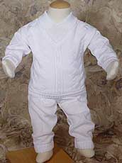 Boys 100% Cotton Knit Two Piece Christening Outfit
