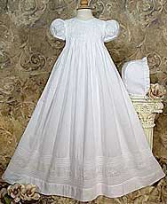 Embroidered Heirloom Christening Gown W/Pintucking