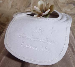 My Godmother Loves Me Christening Bib