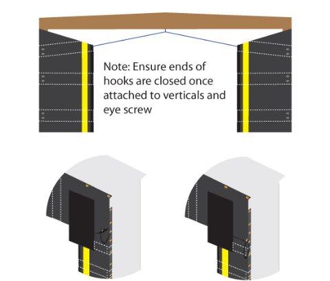 Curtains securement via bungee cords